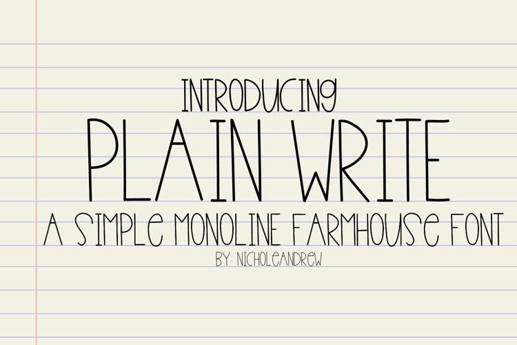 Plain Write - A Simple Monoline Farmhouse Font