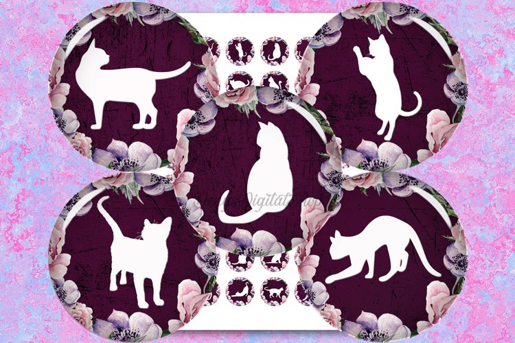 Cats Silhouette,Digital Collage Sheet,Flowers Circle,Cats example image 1