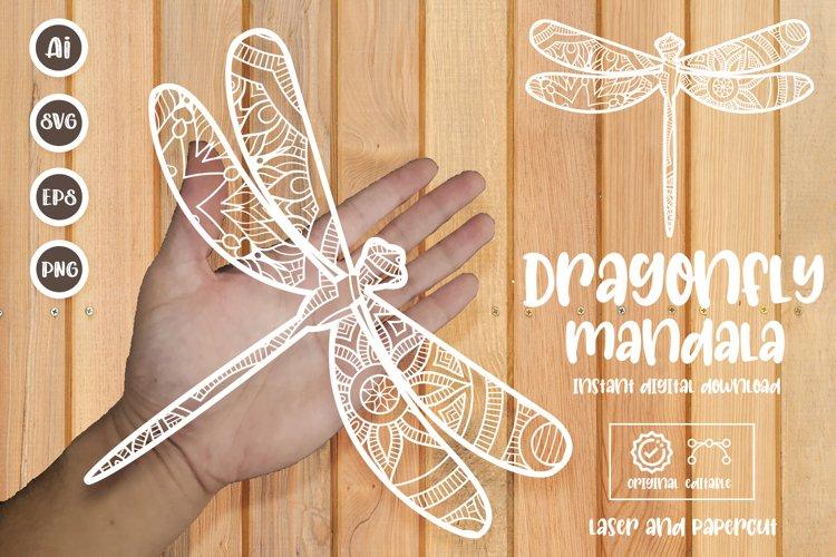Dragonfly Mandala Paper Cut Template, Laser Cut SVG