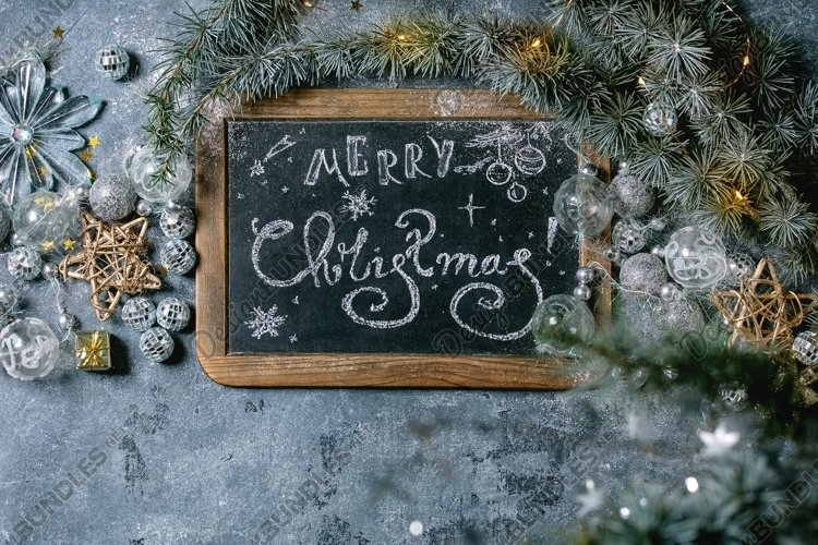 Christmas lettering on chalkboard