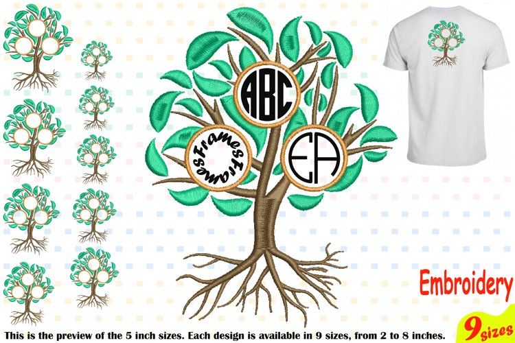 Family Tree Circle Embroidery Design Machine Instant Download Commercial Use digital Outline family love Frame Deep Roots Branches 207b example image 1