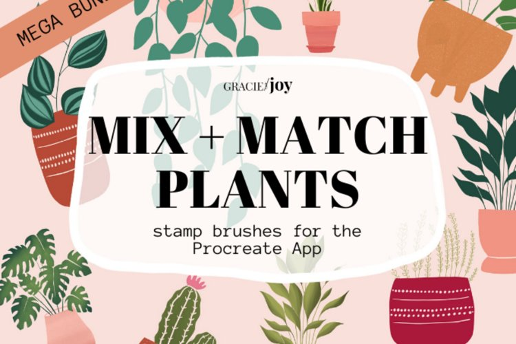 Mix and Match Plants Procreate Stamp Brush example image 1