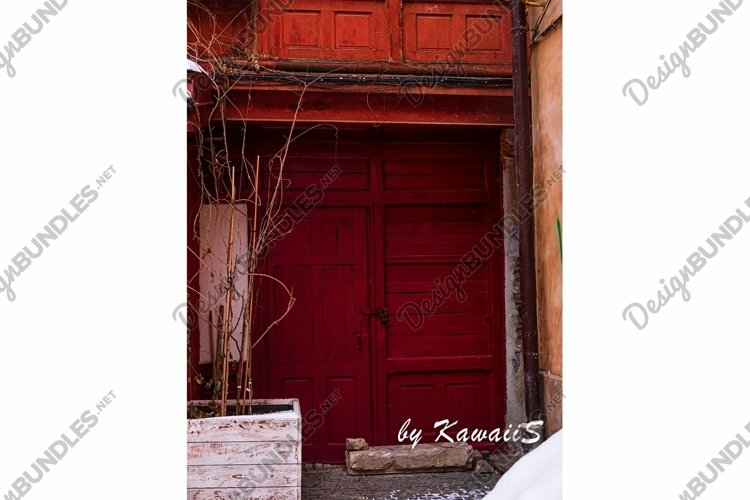 Vintage brown wooden door Antique building exterior detail example image 1