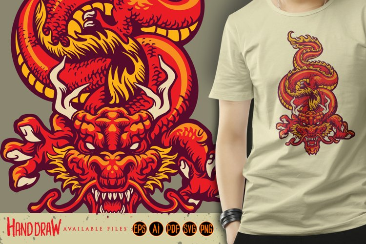 Animal Red Dragon Asia Oriental SVG Illustrations example image 1