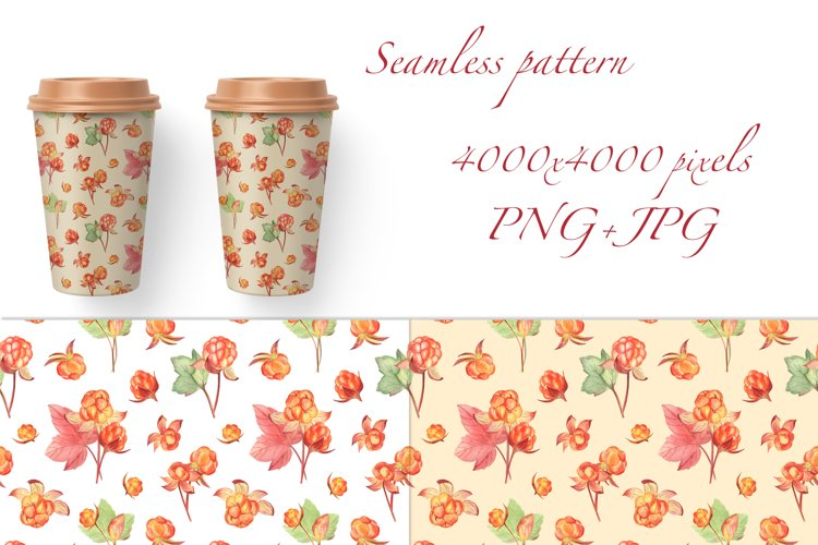 Cloudberry and Cranberry, Farmhouse watercolor patterns, PNG example 2