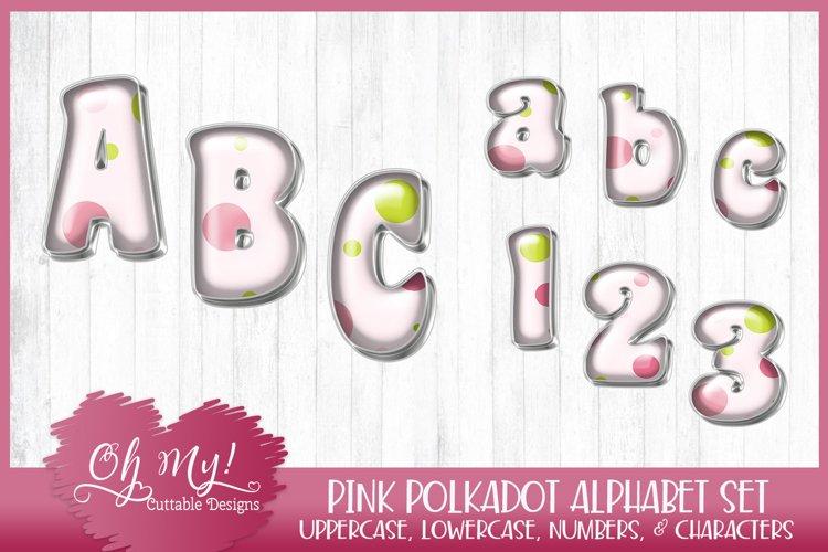 Pink Polkadots Monogram Alphabet Bundle Clipart Graphics Wor example image 1