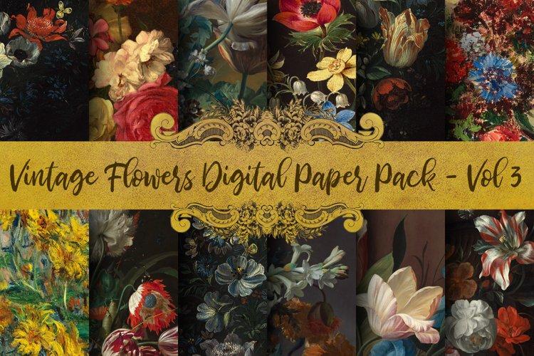 Vintage Flowers Oil Painting Digital Paper - Vol 3