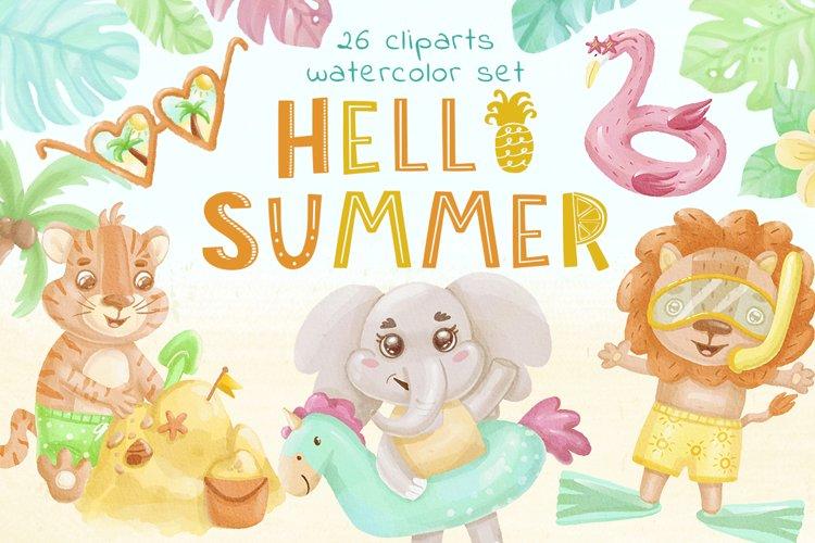 Hello Summer Animals Clipart - Watercolor Illustration, baby