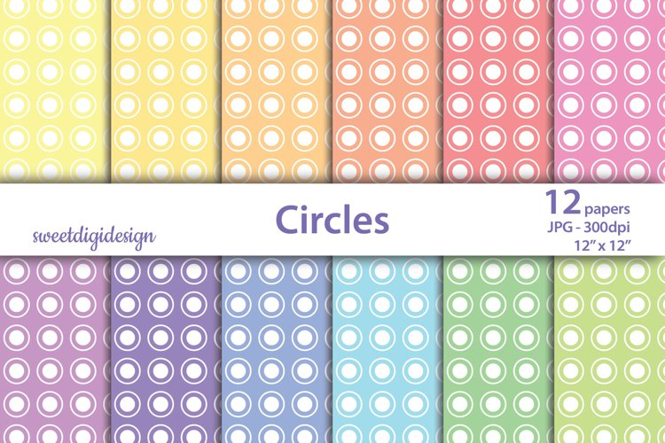 Seamless white polka dot & circles on colored digital paper example image 1