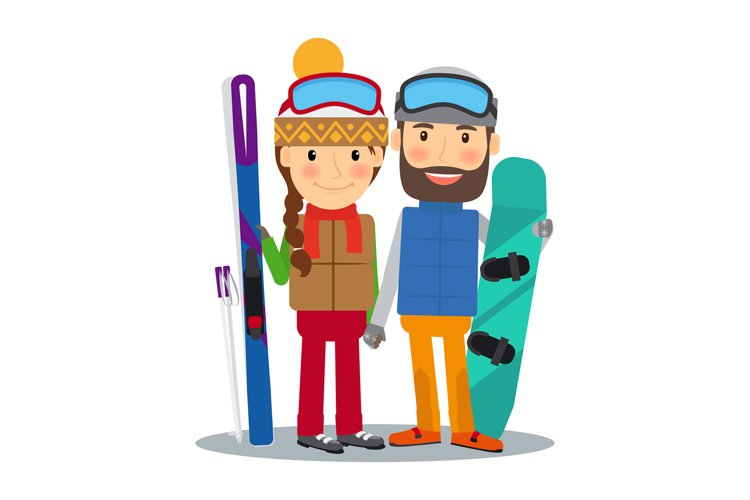 Young couple with ski and snowboard example image 1