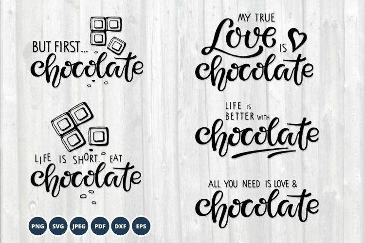Chocolate SVG Bundle. Lettering SVG PNG Vector. example image 1