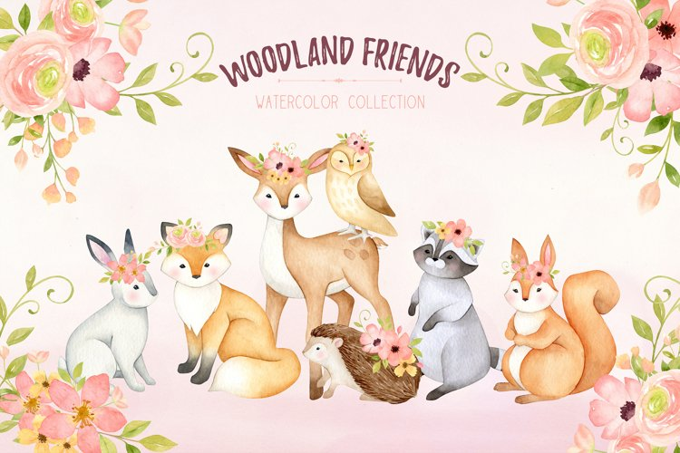 Woodland animals clipart, watercolor nursery print