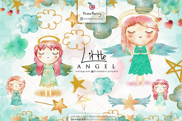 Watercolor Baby Angel Clipart | Drawberry CP030 example image 1