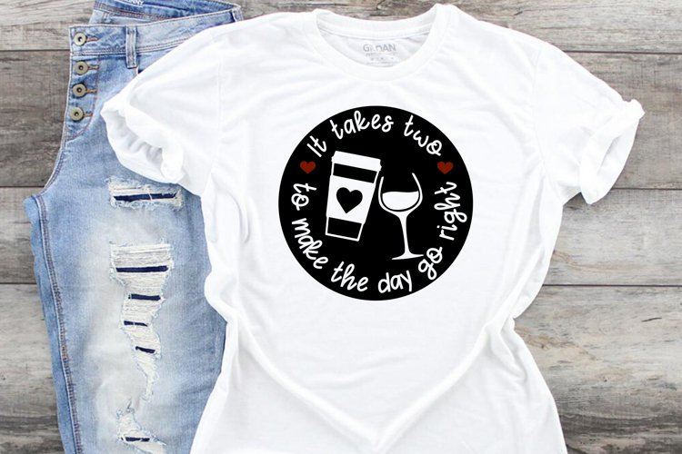 coffee and wine svg cut file, funny wine lover diy project example image 1