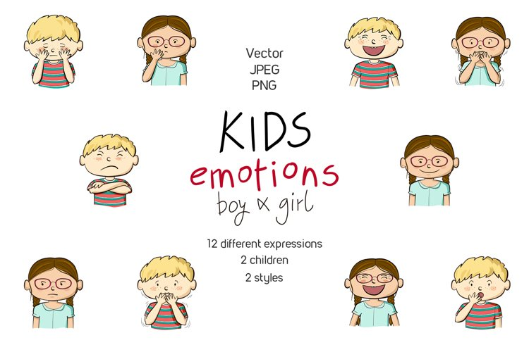 Kids emotions vector illustrations