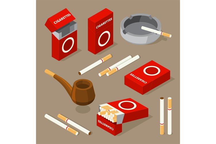 Vector isometric illustrations of cigarettes and various acc
