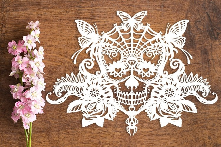 Candy Sugar Skull - PDF Template for Paper Cutting by hand