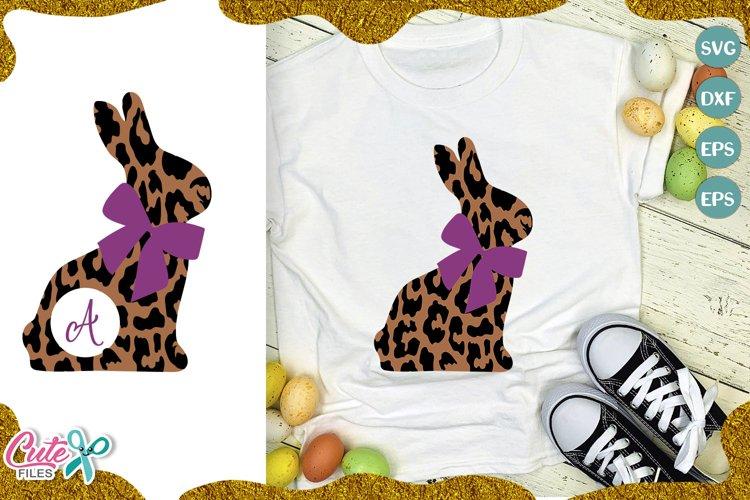 Leopard rabbit monogram frame svg file for crafter