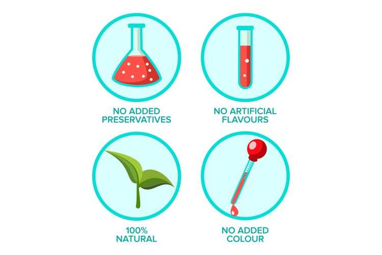 Preservatives Free, Natural Product Vector Stickers Set example image 1