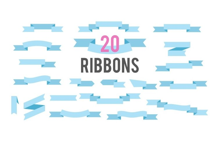 Flat Ribbons Vector Banners Isolated On White Background