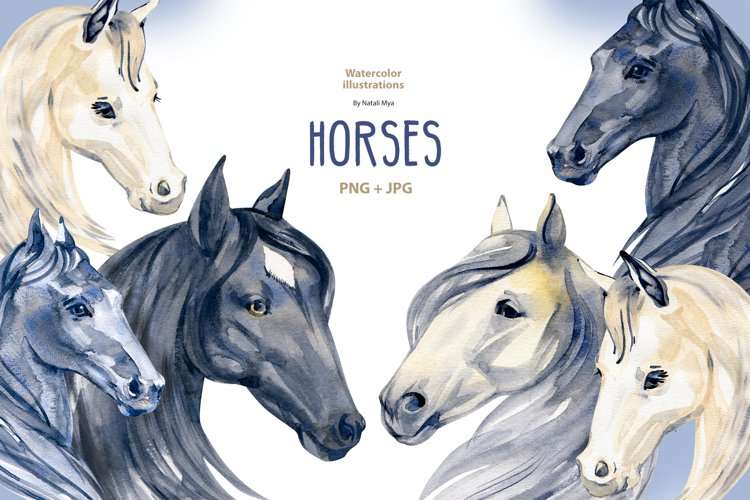 Watercolor horses clipart example image 1