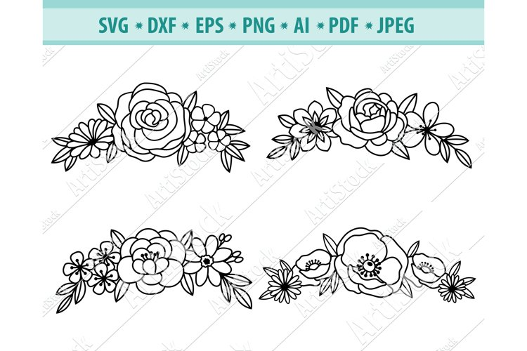 Floral headband svg, Flower headband for women Png, Eps, Dxf example image 1