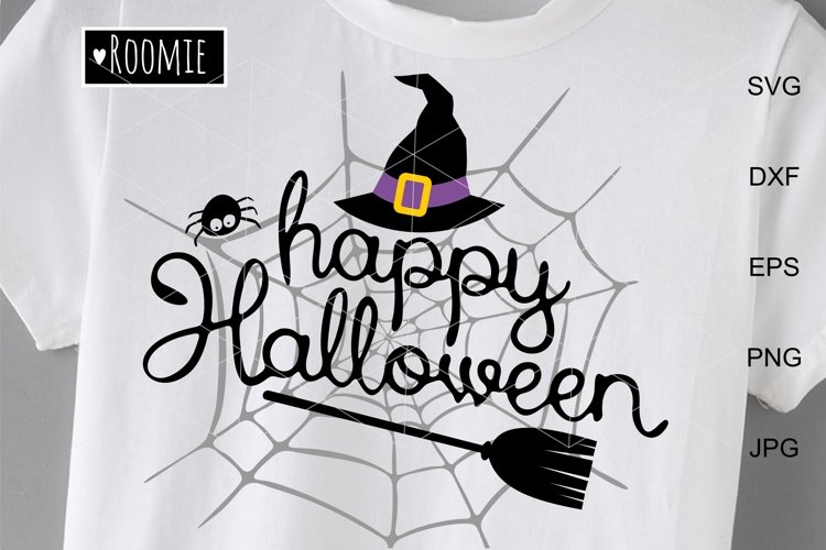 Happy Halloween Svg, Spider Web and Witch hat svg, Decor diy