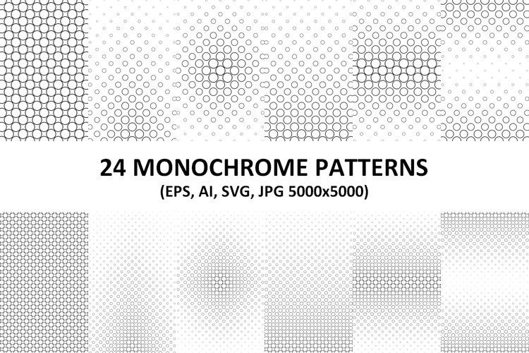 24 Monochrome Vector Circle Patterns