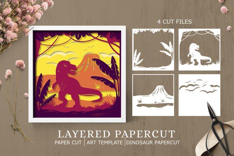 Layered papercut  paper cut Dinosaur papercut example image 1