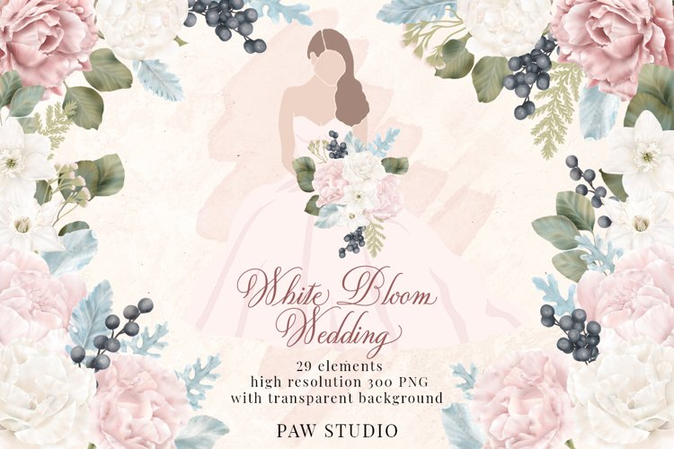White Pink Flowers Winter Leaves Wedding Bride Clipart example image 1