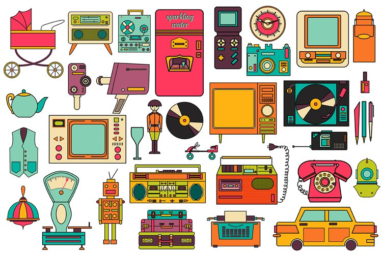 32 retro icons 80-90s collection. - Free Design of The Week Design0