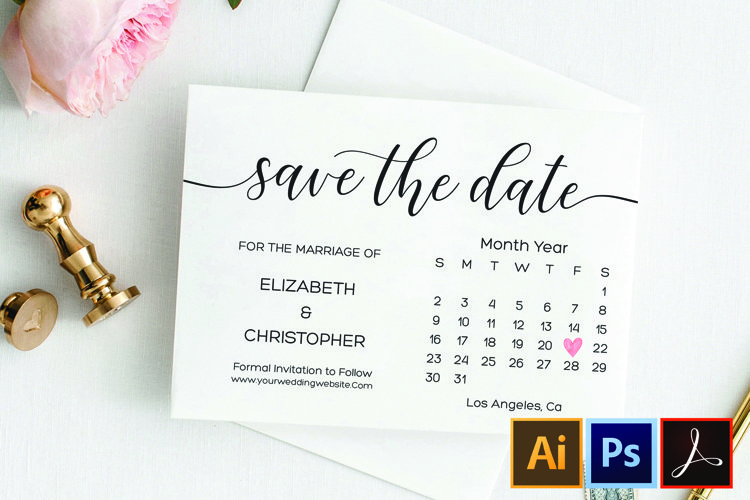 Save the Date, Printable Save the Date Wedding template example image 1