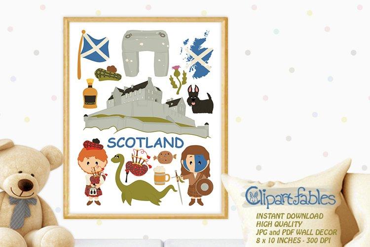 SCOTLAND digital print, INSTANT download, Kids wall art