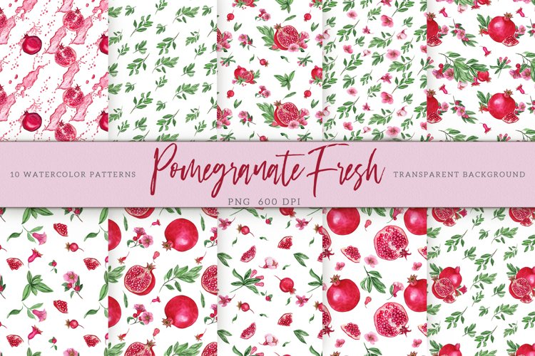 Pomegranate Fresh. Patterns Set example image 1