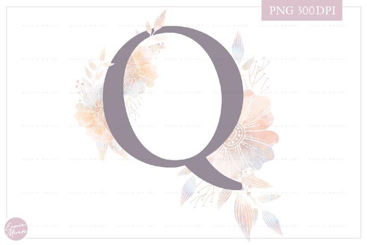 Letter Q Floral MONOGRAM - elegant wedding flower initial example image 1