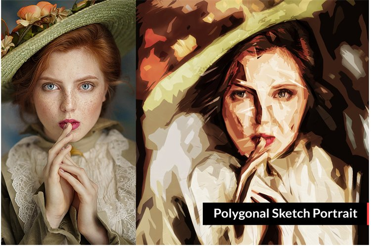 Polygonal Sketch Art PS Action example image 1