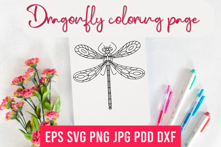 Dragonfly Mandala, Zentangle, Coloring Page, Sublimation