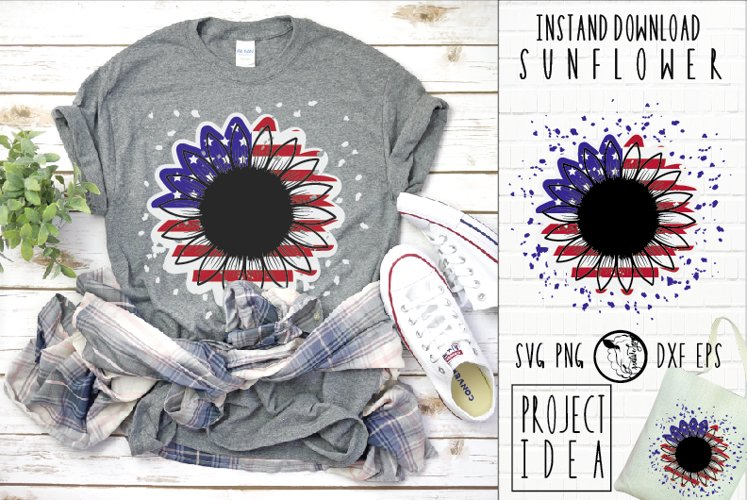 Instant Download|Sunflower|America Flag|USA SVG