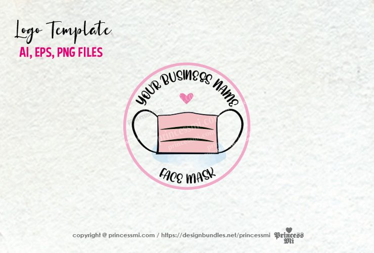 business logo template, Pink face mask logo design example image 1