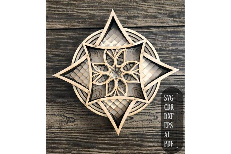 Layered Star Flower Mandala, 3d mandala svg, star svg,