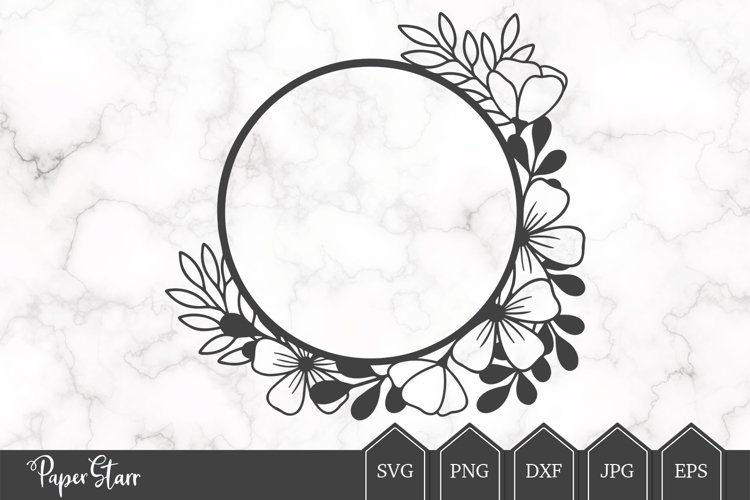 Floral Wreath SVG Cut File example image 1