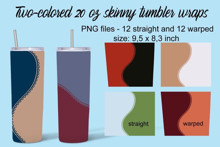 Two-colored 20 oz skinny tumbler wraps