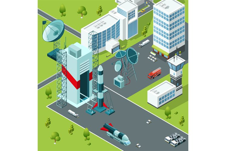 Launch pad of the spaceport. Isometric buildings example image 1