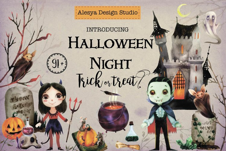 Halloween Night. Watercolor halloween characters.