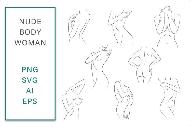 Nude Body Woman SVG Line Art Bundle Graphic Vector