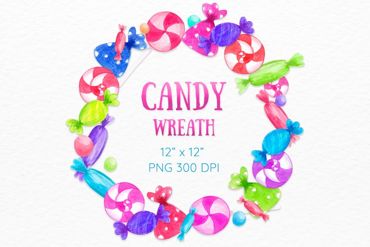 Candy wreath Colorful Watercolor Sweets clipart example image 1
