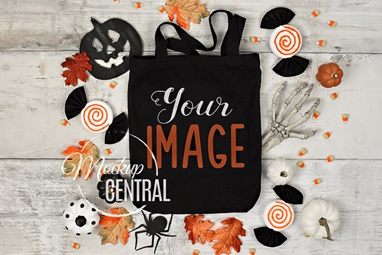 Black Halloween Tote Bag Mockup JPG, Flatlay Photo example image 1