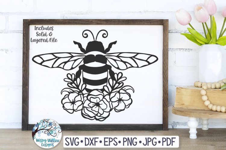 Floral Bee SVG Cut File