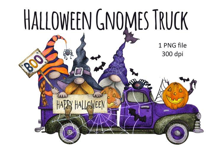 Watercolor Happy Halloween Gnome Truck Clipart png, Pumpkin