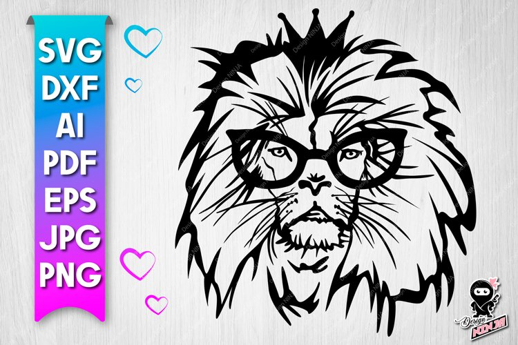 Lion in glasses SVG cut file example image 1
